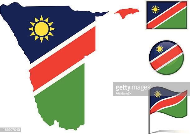 nambia map & flag - namibia stock illustrations, clip art, cartoons, & icons