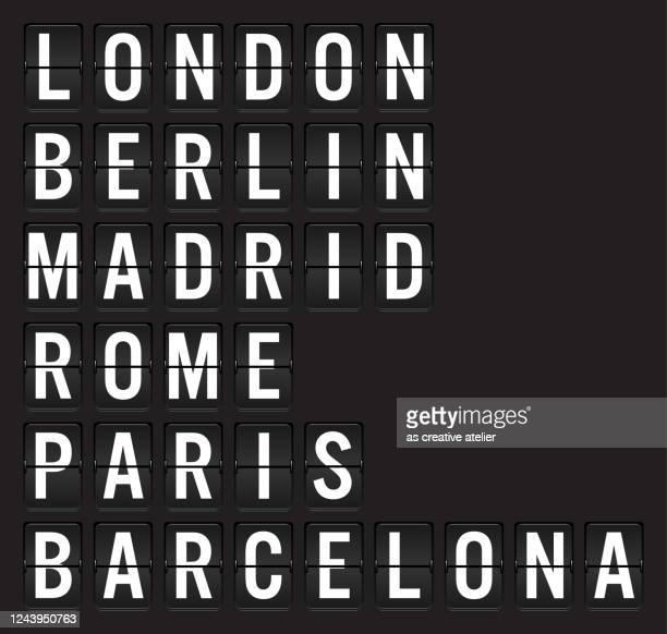 空港フリップボード上のヨーロッパの都市の名前 - イングランド南東部点のイラスト素材/クリップアート素材/マンガ素材/アイコン素材