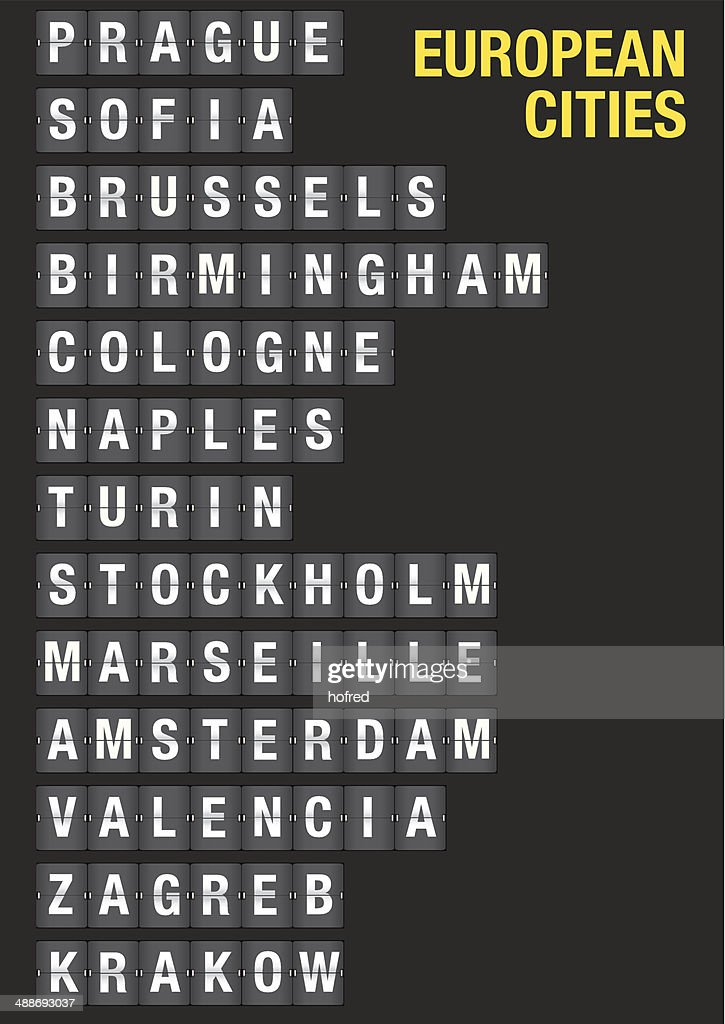 Name of European Cities on Airport Flip Board