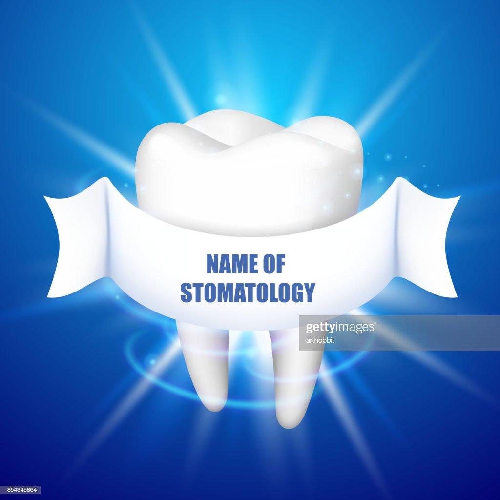 Name Der Stomatologie Zahn Auf Blauem Grund Vektorgrafik   Getty Images