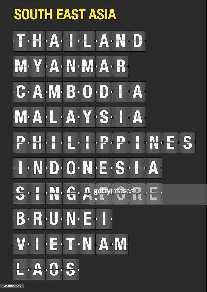 Names of Asean Countries on Airport Flip Chart