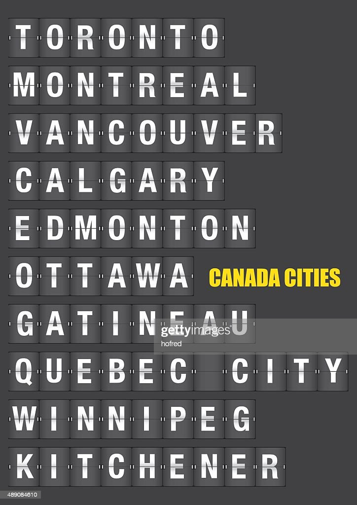 Names of Canadian Cities on Split flap Flip Board Display