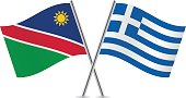 Namibia and Greece flags.Vector illustration.