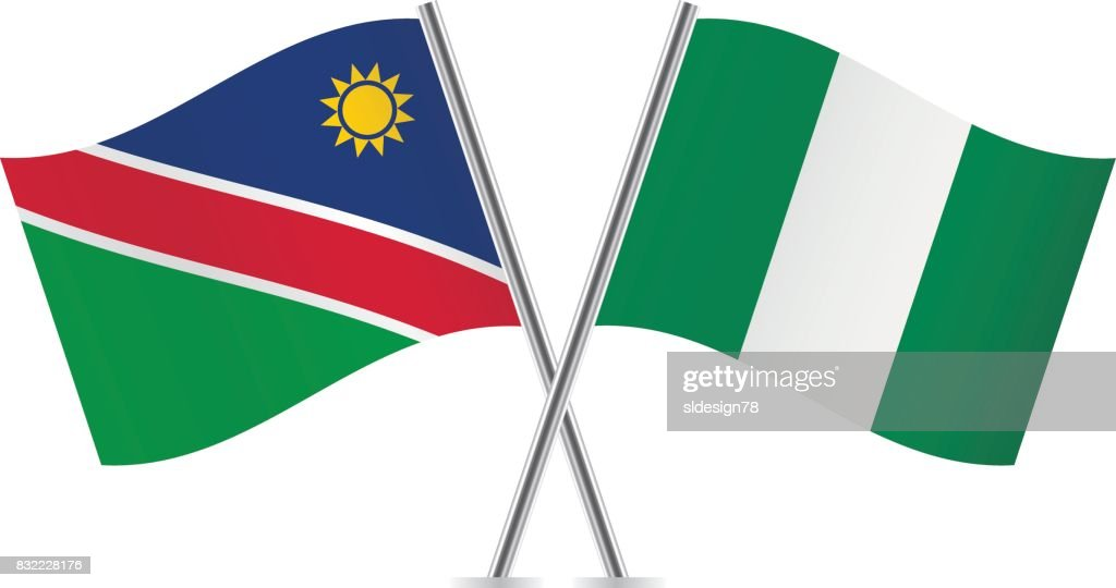 Namibia and Nigeria flags.Vector illustration.