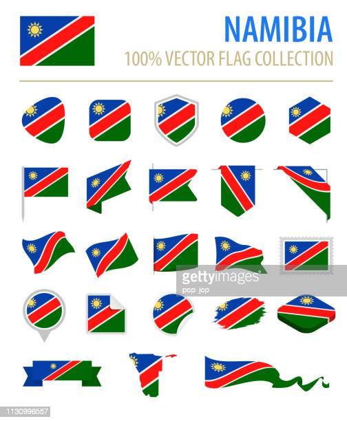 namibia - flag icon flat vector set - namibia stock illustrations, clip art, cartoons, & icons