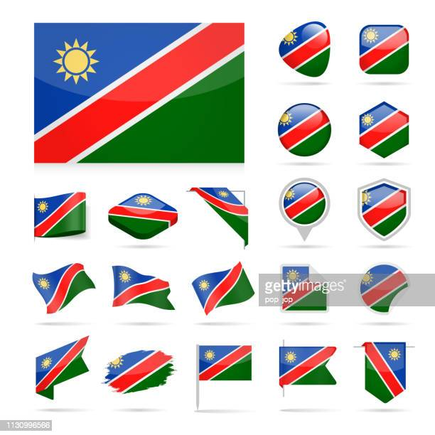 namibia - flag icon glossy vector set - namibia stock illustrations, clip art, cartoons, & icons