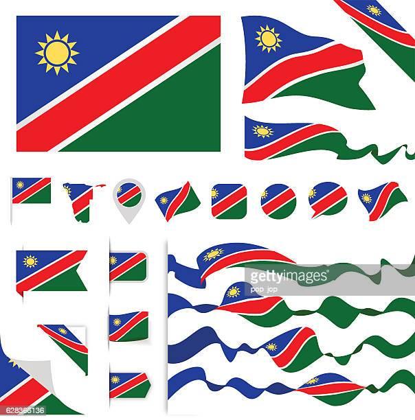 namibia flag set - namibia stock illustrations, clip art, cartoons, & icons
