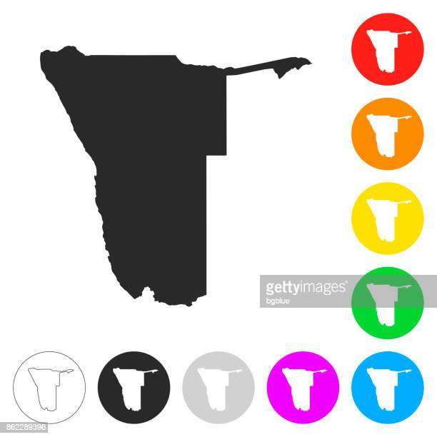 namibia map - flat icons on different color buttons - namibia stock illustrations, clip art, cartoons, & icons
