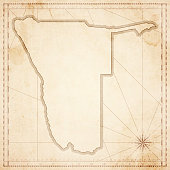 Namibia map in retro vintage style - old textured paper