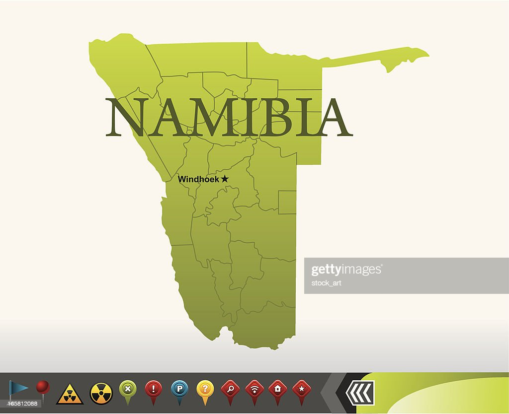 Namibia map with navigation icons : stock illustration