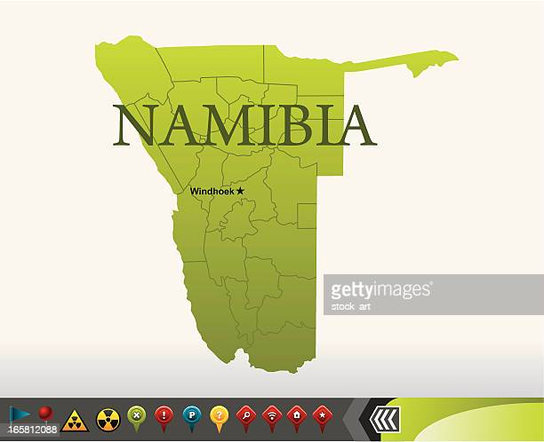 Namibia map with navigation icons
