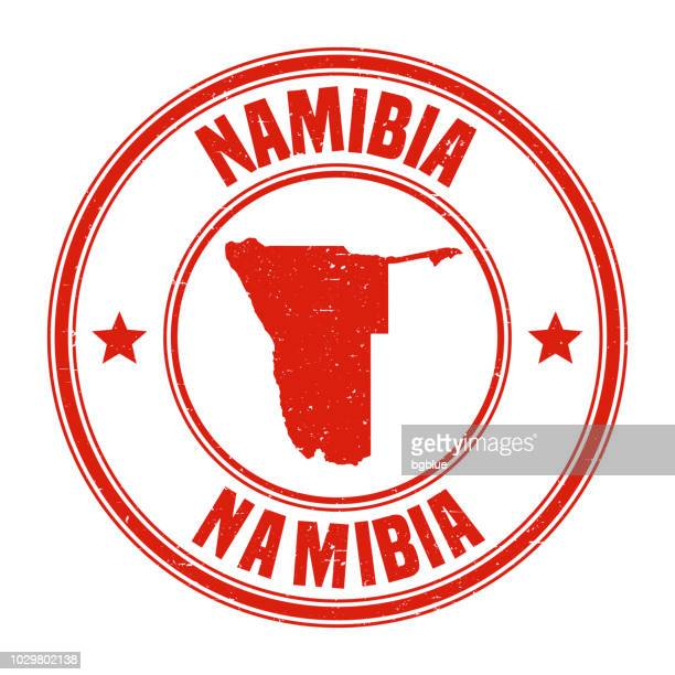 namibia - red grunge rubber stamp with name and map - namibia stock illustrations, clip art, cartoons, & icons