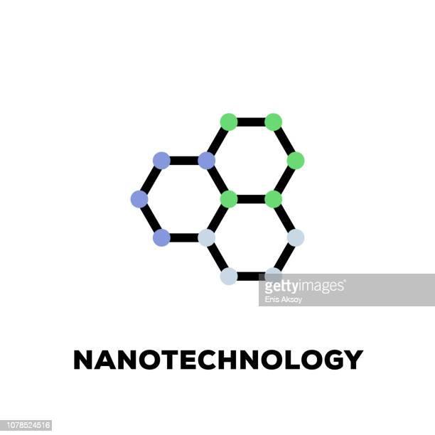 nanotechnologie liniensymbol - nanotechnologie stock-grafiken, -clipart, -cartoons und -symbole