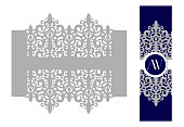 Napkin ring. Holder for scroll invitation. Laser cut lace for wedding invite card.