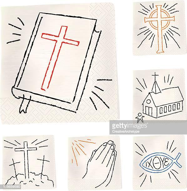 napkin sketch - christian - praying stock illustrations, clip art, cartoons, & icons
