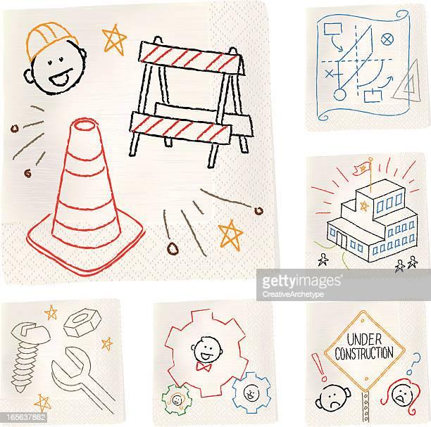 serviette skizzen-konstruktion - verkehrswarnung stock-grafiken, -clipart, -cartoons und -symbole