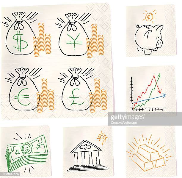 napkin sketches - fiance - american one dollar bill stock illustrations, clip art, cartoons, & icons