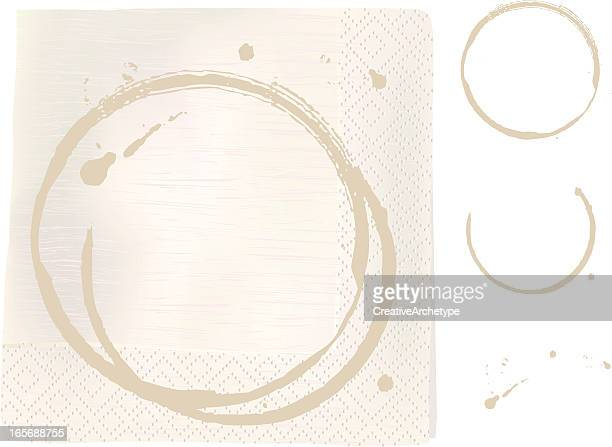 napkin with coffee stains - napkin stock illustrations