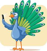 Narcissistic Peacock Taking a Selfie Vector Cartoon
