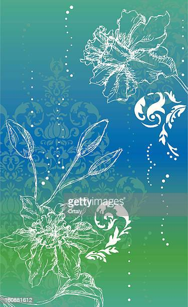 narcissus drawing on gradient background - paperwhite narcissus stock illustrations, clip art, cartoons, & icons
