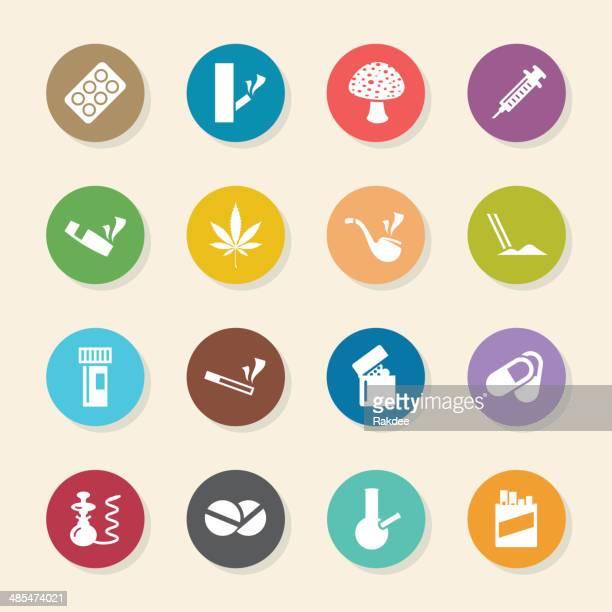 narcotics and drugs icons - color circle series - cannabis medicinal stock illustrations, clip art, cartoons, & icons