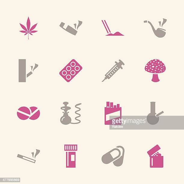 narcotics and drugs icons - color series | eps10 - cocaine stock illustrations, clip art, cartoons, & icons