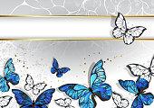 narrow banner with butterflies morpho