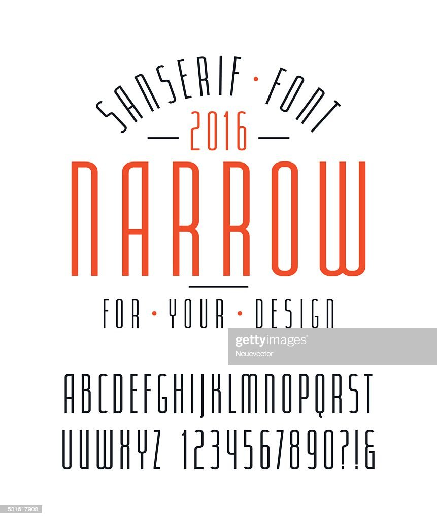 Narrow sanserif font and numbers