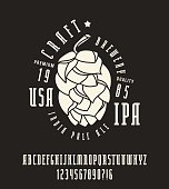 Narrow serif font and craft brewery label