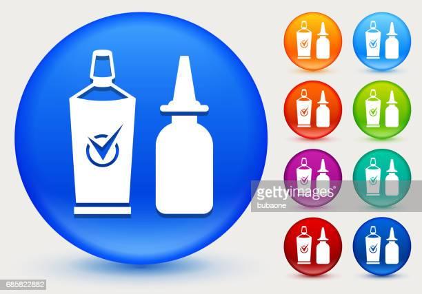 Nasal Spray Icon on Shiny Color Circle Buttons