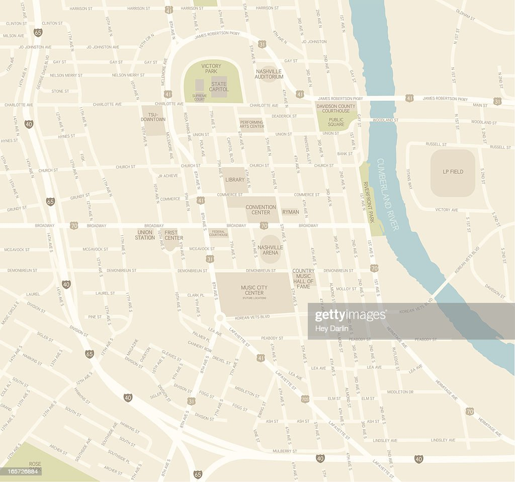 Nashville Downtown Map stock illustration - Getty Images on