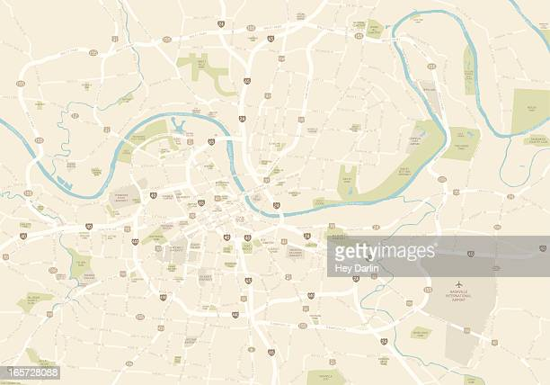 karte von nashville - stadtplan stock-grafiken, -clipart, -cartoons und -symbole