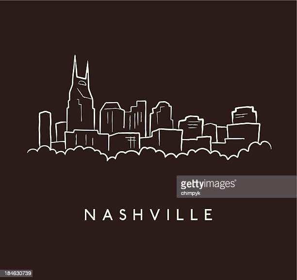 nashville skyline sketch - nashville stock illustrations