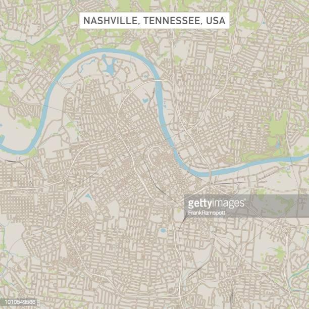 nashville tennessee us city street map - nashville stock illustrations