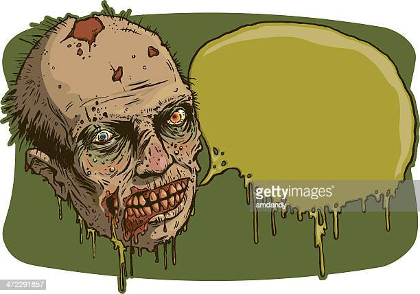nasty zomb and oozing word bubble - slimy stock illustrations, clip art, cartoons, & icons
