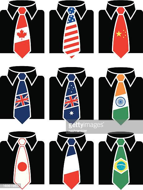 stockillustraties, clipart, cartoons en iconen met nation business ties - overhemd en stropdas