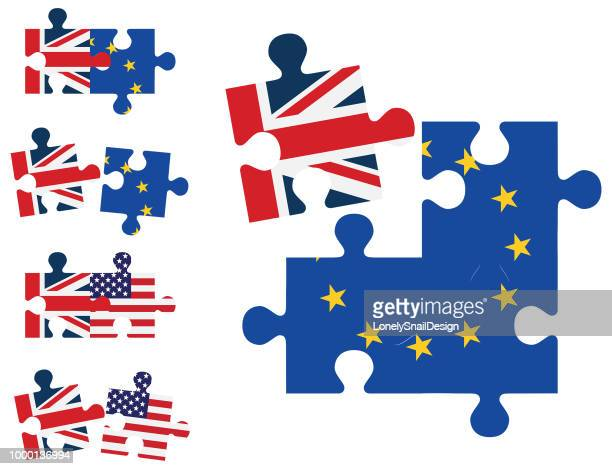 nation jigsaw - brexit stock illustrations