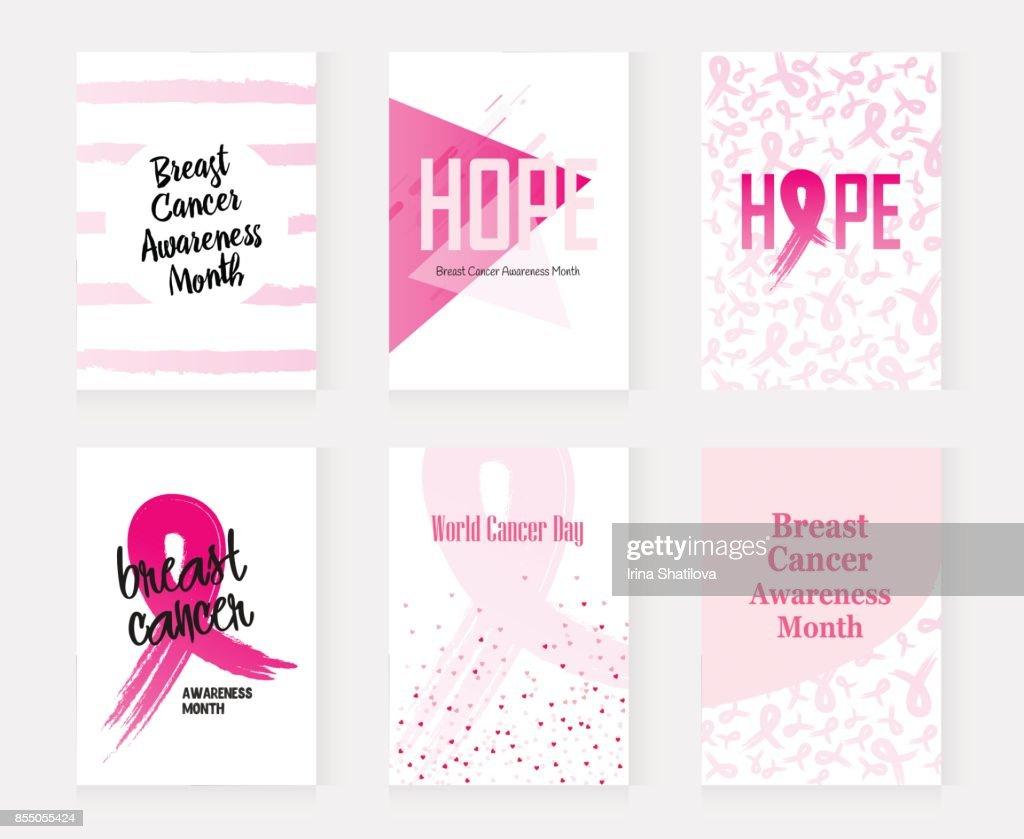 National Breast Cancer Awareness set banners. Vector illustration