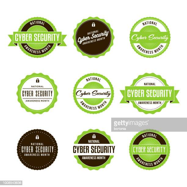 national cyber security awareness month labels icon set - month stock illustrations