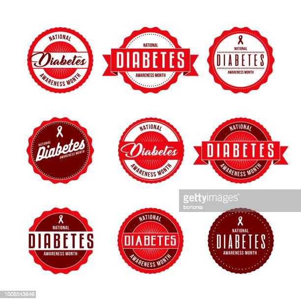 ilustraciones, imágenes clip art, dibujos animados e iconos de stock de mes de concientización nacional diabetes etiquetas conjunto de iconos - diabetes