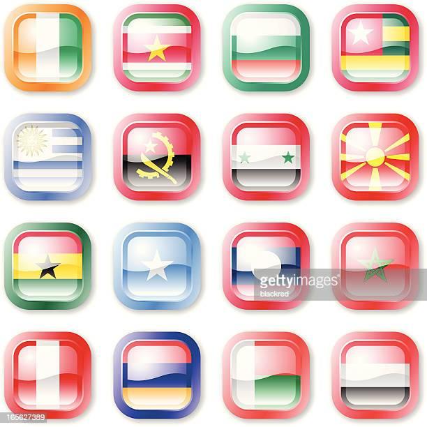 national flag buttons - ghana flag stock illustrations, clip art, cartoons, & icons