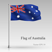 National flag of Australia isolated on gray background. Realistic Australian flag waving in the Wind. Wavy flag Stock Vector illustration