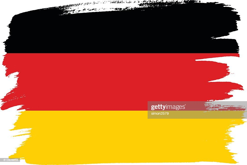 National flag of Germany with brush strokes painted