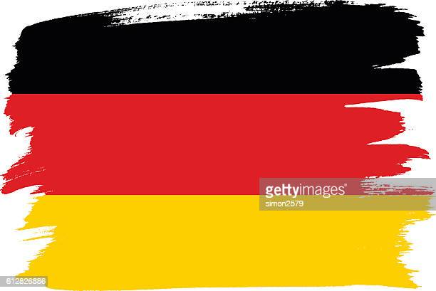national flag of germany with brush strokes painted - deutsche flagge stock-grafiken, -clipart, -cartoons und -symbole