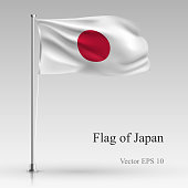National flag of Japan isolated on gray background. Realistic Japanese flag waving in the Wind. Wavy flag Stock Vector illustration