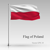 National flag of Poland isolated on gray background. Realistic Polish flag waving in the Wind. Wavy flag Stock Vector illustration