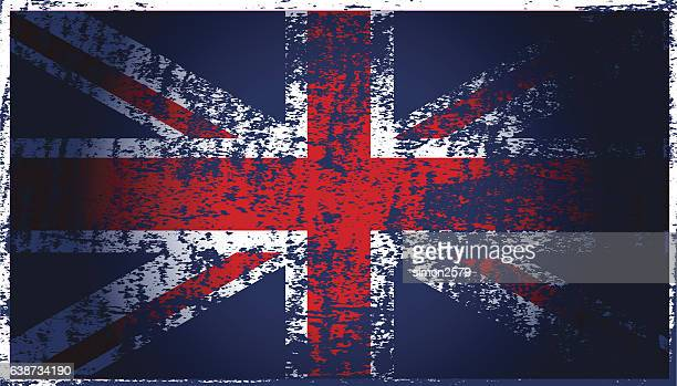 National flag of the United Kingdom with brush strokes painted