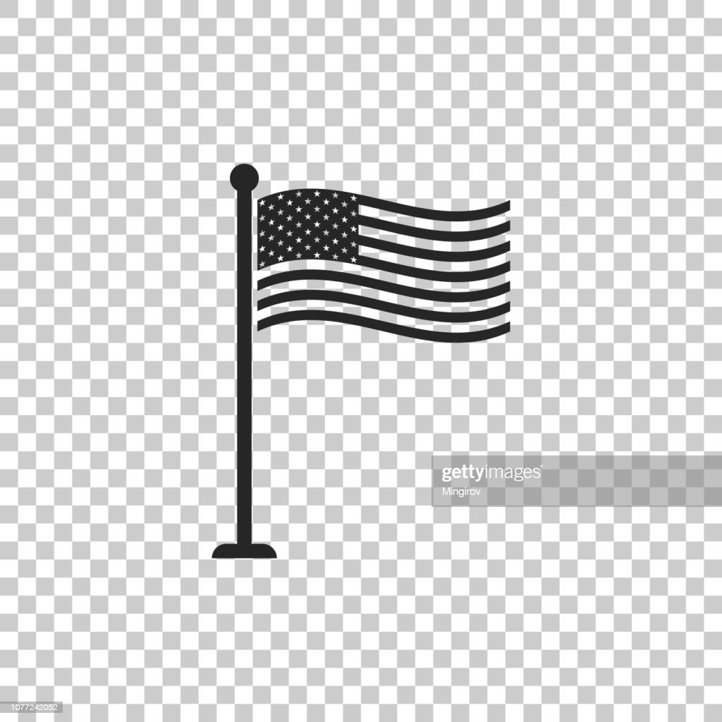 National flag of USA on flagpole icon isolated on transparent background. American flag sign. Flat design. Vector Illustration