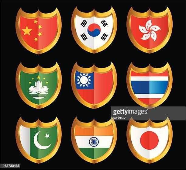 National Flag Shield Icon Set