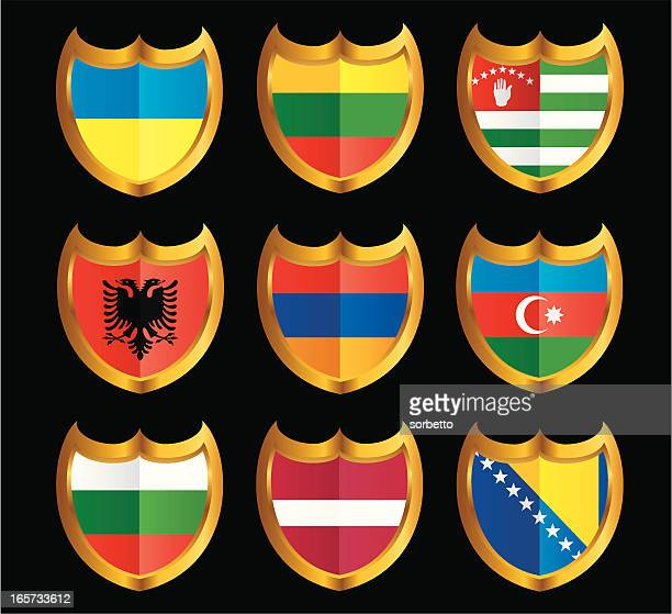 national flag shield icon set - armenian flag stock illustrations